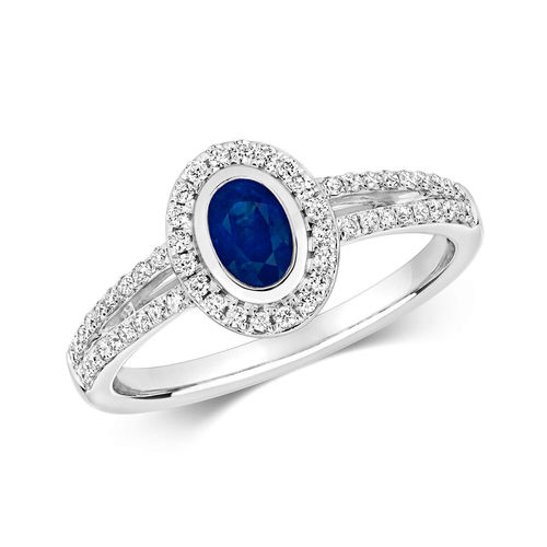 Womens 9ct White Gold Diamond Cluster & Oval Sapphire Ring