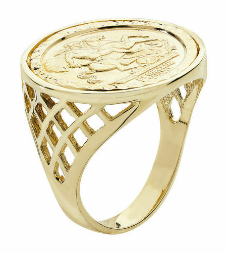 Mens 9ct Yellow Gold Saint George Ring