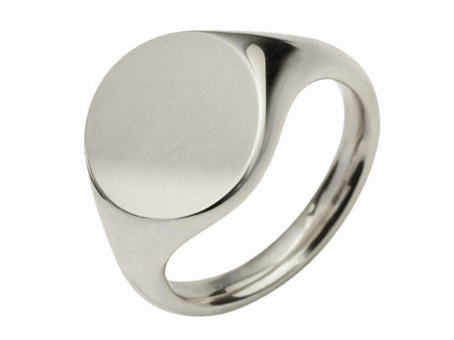 Womens Sterling Silver 11mm round Signet Ring