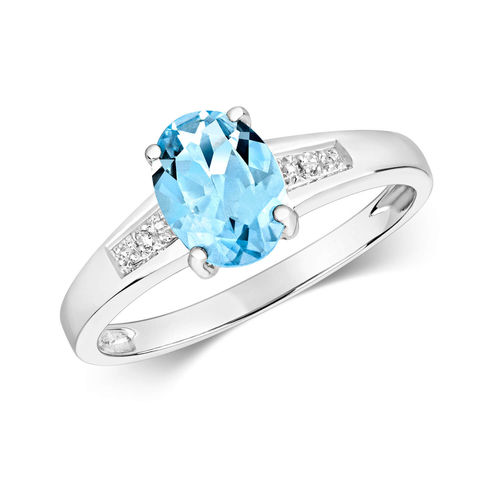 Womens 9ct White Gold Oval Aquamarine & Diamond Ring