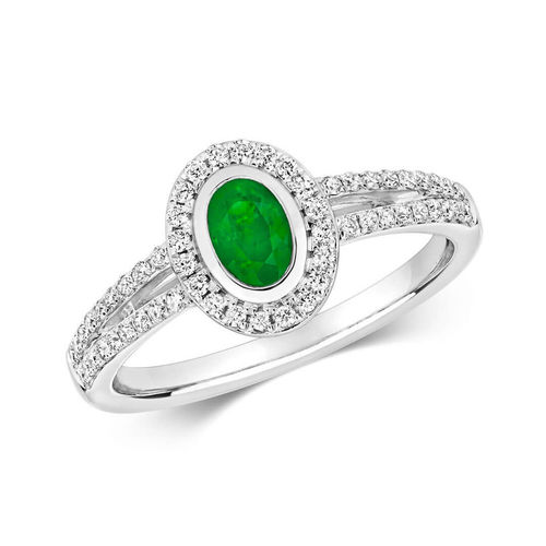 Womens 9ct White Gold Oval Emerald & Diamond Cluster Ring