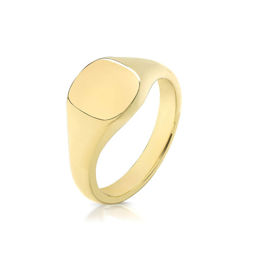 Womens 9ct Yellow Gold 9mm Cushion Signet Ring 5 grams