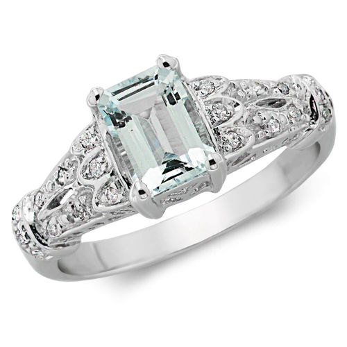 Womens 9ct White Gold Emerald cut Aquamarine Stone & Diamond Ring