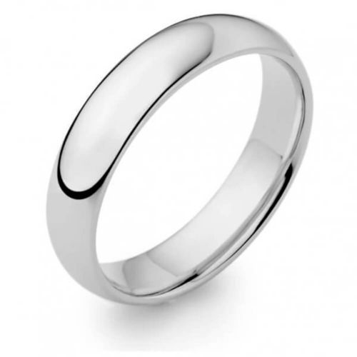 Mens 9ct White Gold 5mm D shape Wedding Ring Size M to Q