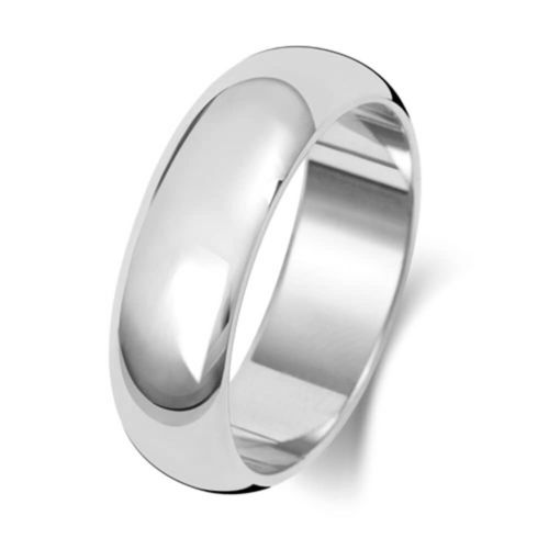 Mens 9ct White Gold 6mm D shape Wedding Ring Size M to Q