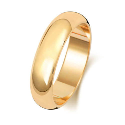 Men's 9ct Yellow Gold 5mm D shape Wedding Ring Size M to Q
