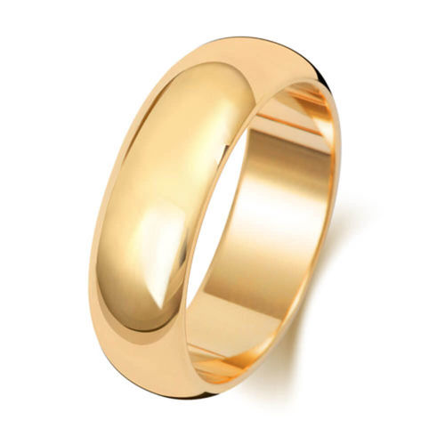 Men's 9ct Yellow Gold 6mm D shape Wedding Ring Size M to Q