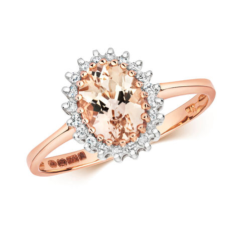 Womens 9ct Rose Gold Oval Morganite & Diamond Ring