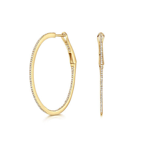 9ct Yellow Gold 35mm Diamond Hoop Earrings