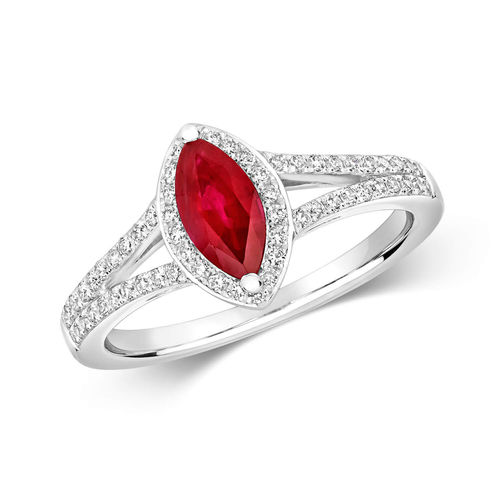 Womens 9ct White Gold Marquise Ruby & Diamond Cluster Ring
