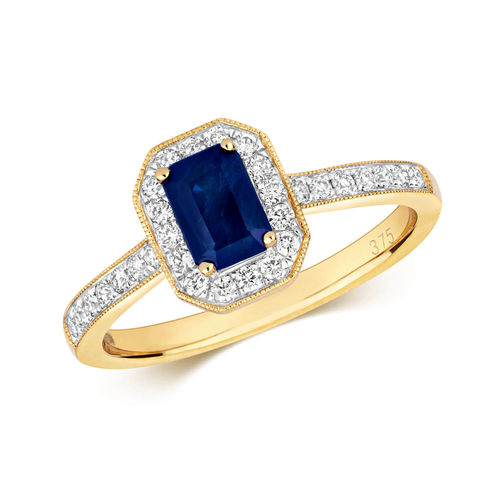 Womens 9ct Yellow Gold Octagon Sapphire & Diamond Cluster Ring