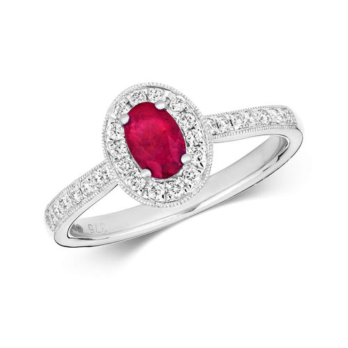 Womens 9ct White Gold Oval Ruby & Diamond Cluster Ring
