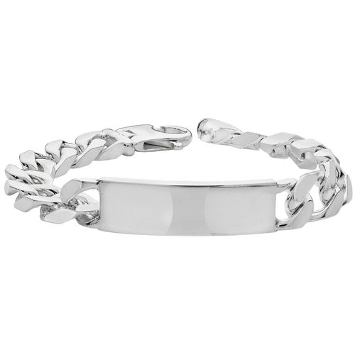 Mens Sterling Silver Curb ID Bracelet 61 grams