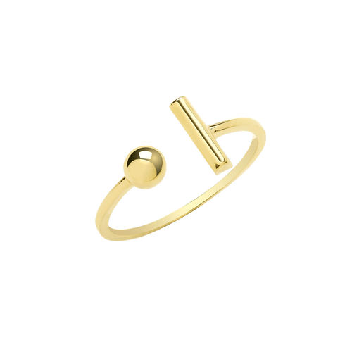 Womens 9ct yellow Gold T BAR & BEAD Ring