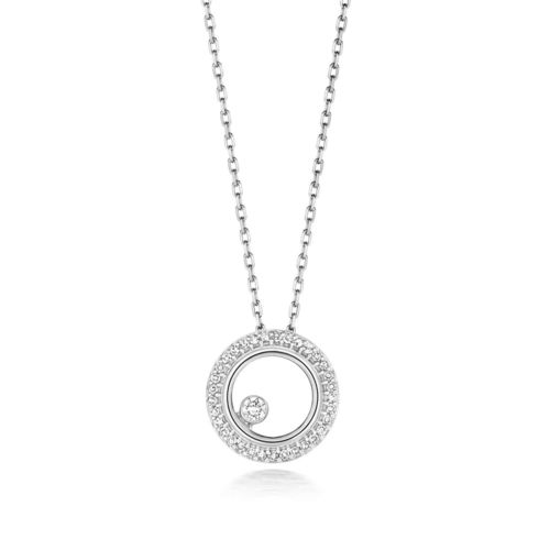 Womens 9ct White Gold Diamond Circle Pendant Necklace