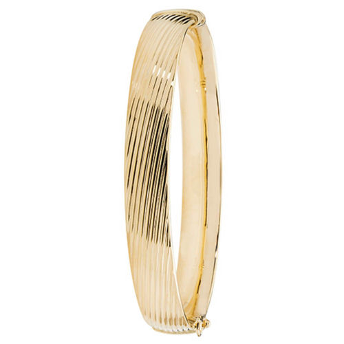 9ct Yellow Gold patterned hinged Bangle