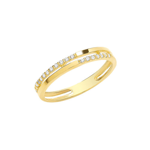 Womens 9ct Yellow Gold CZ Double Band Ring