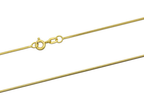 Women's 9ct Yellow Gold round Snake Chain Necklace 18 inch