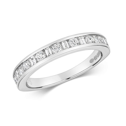 9ct White Gold round & Baguette half Eternity Ring