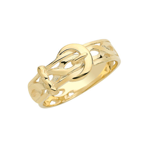 Mens 9ct Yellow Gold Engraved style Buckle Ring 4 grams