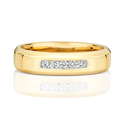 Womens 9ct Yellow Gold 4mm 5 Diamond Wedding Ring