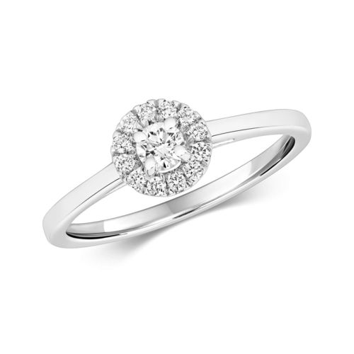 9ct White Gold Halo Diamond Engagement Ring