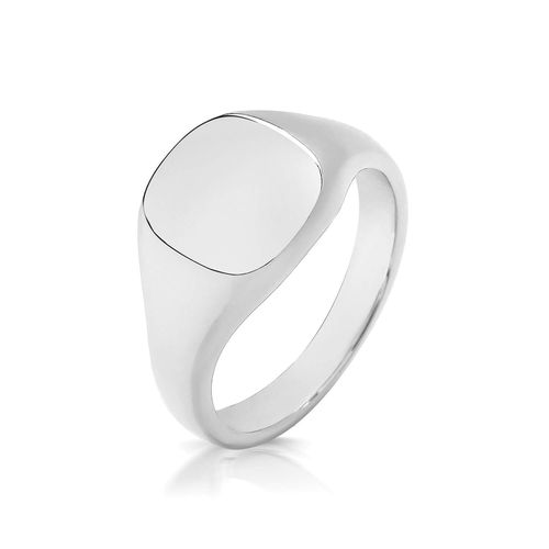 Women's Sterling Silver 11mm Cushion Signet Ring