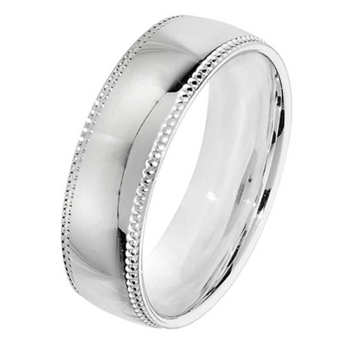 Men's Sterling Silver 6mm Court shape Millgrain Wedding Ring Size M to W