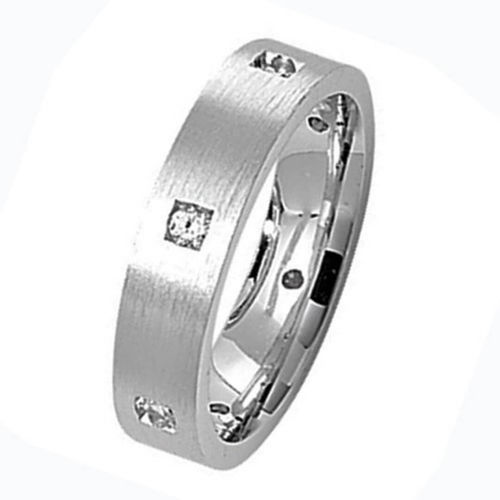 Men's Sterling Silver Satin finish 5mm 6 CZ Wedding Ring Size M to W