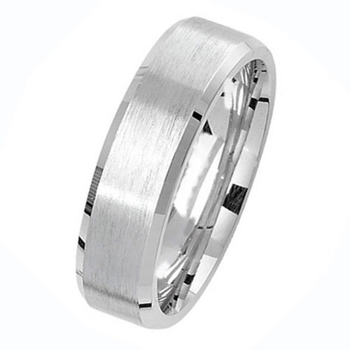 Men's Sterling Silver Satin finish 6mm Wedding Ring Size M to W