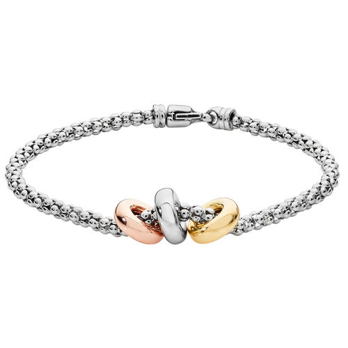 Women's Sterling Silver Mesh plated Yellow White Rose Gold Rings Bracelet