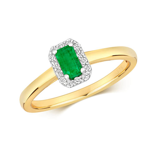 Women's 9ct Yellow Gold Octagon Emerald & Diamond Cluster Ring