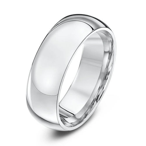 Men's 18ct white Gold 6mm Court shape Wedding Ring sizes M to R
