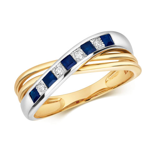 Women's 9ct Gold Diamond & Sapphire crossover Ring