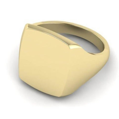 Mens 9ct Gold 14mm x 12mm Cushion Signet Ring size L - R