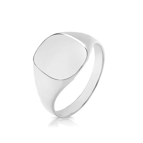 Sterling Silver 12mm x 11mm Cushion Signet Ring 5 grams