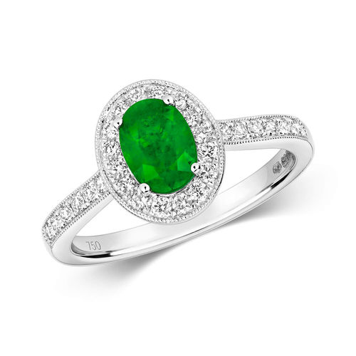 Women's 18ct White Gold Oval Emerald & Diamond Cluster Ring