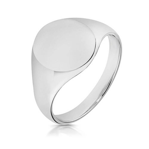 Mens Sterling Silver 14mm Oval Signet Ring 5 grams