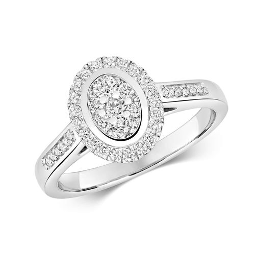 9ct White Gold Oval Diamond Cluster Engagement Ring