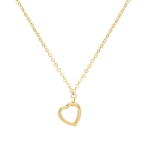 9ct Yellow Gold Heart Necklace 16 inch