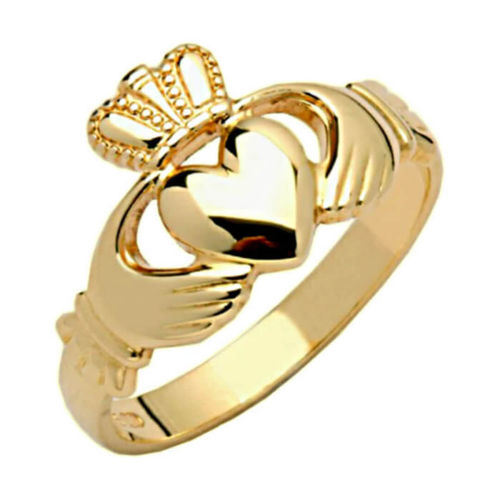 Women's solid 14ct Yellow Gold Claddagh Ring 5 grams