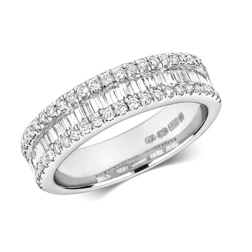 18ct White Gold round & Baguette Edge Eternity Ring