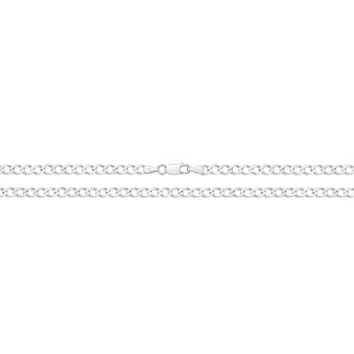 Men's 9ct White Gold flat Bevelled Curb Chain 22 inch 11 grams