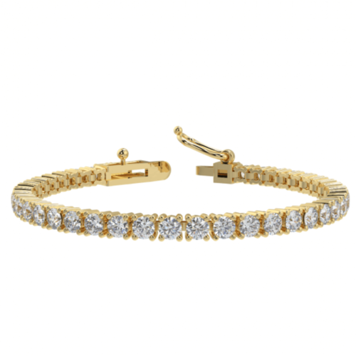 9ct Yellow Gold 2 Carat round Diamond Tennis Bracelet