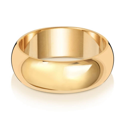 Men's 18ct Yellow Gold 7mm D shape Wedding Ring 8 grams